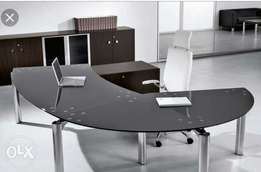 Executive black Table (Glass) with leather swivel chair