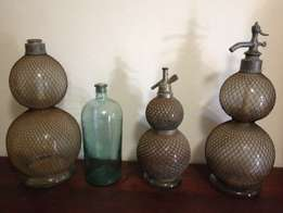 Three Antique Soda syphon seltzer bottles