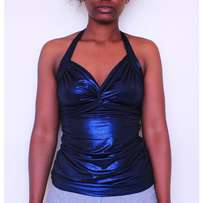 Shimmery Deep Blue Halter Disco Top For A Night Out