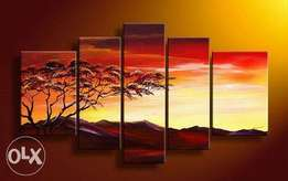 sunset tree painting