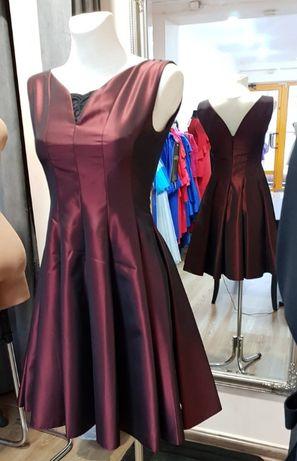 89496cb97d Rozkloszowana sukienka MIDI Bordowa z dekoltem Studniówka wesele 34 Gorzów  Wielkopolski - image 1