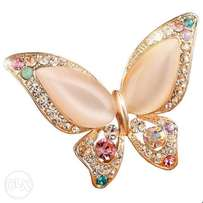 Gold Butterlfy Rhinestone Brooch