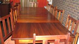 Solid black wood dinning table and chairs