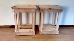 Raw Pallet Bedside Tables