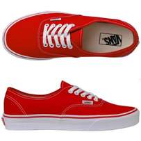 Red and Black Off the wall Vans