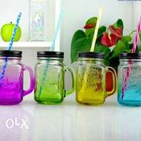 Glass Mason Jar with 2 reusable Straws & 2 Lids FREE DELIVERY