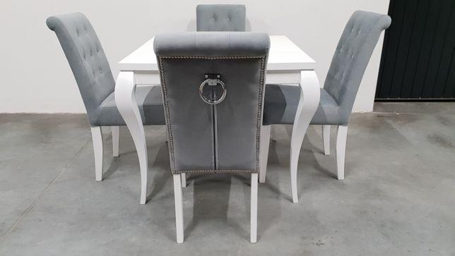 Zaawansowane Krzesło pikowane tapicerowane białe siwe z kołatką PRODUCENT modne SP61