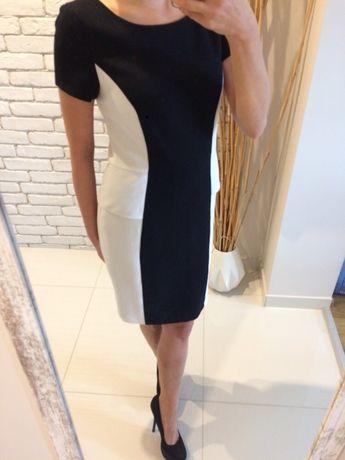 95a39a7b8 Papaya sukienka biało czarna wyszczuplająca dwukolorowa 36 S wizytowa  Będzin - image 1