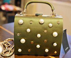 1c155d6ff2532 torebka zara nowa zielona łańcuszek rączka perły kopertówka kuferek