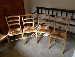 6 matching wooden kitchen chairs R125 ea