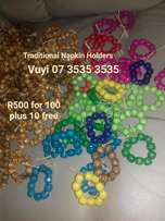 Traditional wedding napkin holders all colours for sale R400 for 110