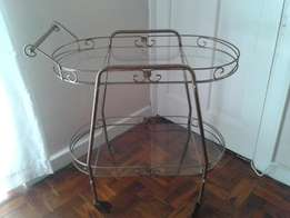 Vintage metal and glass trolley