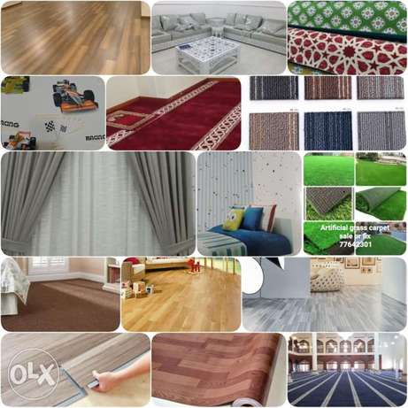 Wood flooring parkia, Grass carpet, sofa,Vinyl flooring pvc,, Curtain