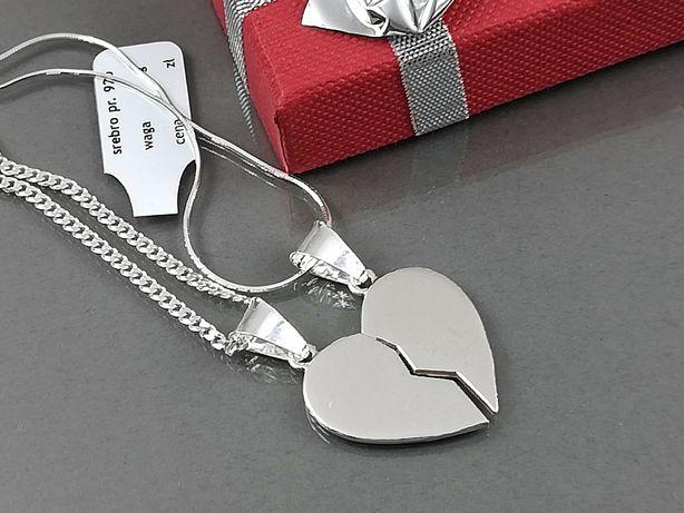 cf213936753ae4 Serce łamane srebrne dla dwojga + 2 łańcuszki męski/damski - Grawer Olkusz  - image