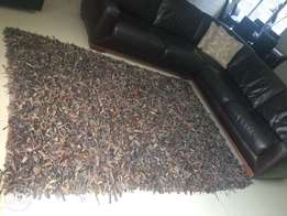 Large Brown Shaggy Leather Carpet