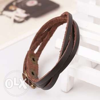 Slim Leather Buckle Bracelet Men fashion Bangles Ojo - image 2