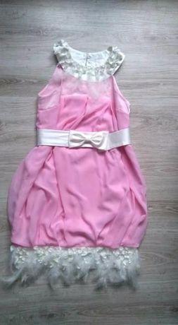 79ab7e8a7f Sukienka bombka weselna piórka Różowa sukienka Sukienka na wesele Poraj -  image 1