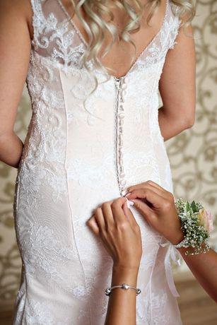 e3dbd092f5 Piękna koronkowa suknia ślubna - wzór rybka Legnica - image 2