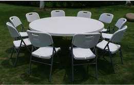 Round table, foldable tables and quality chairs