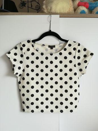 f3f8f4bc06836d Croptop biały w czarne groszki kropki river island bluzka koszulka hm  Koszalin - image 1