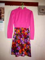 Pink n floral small size dress