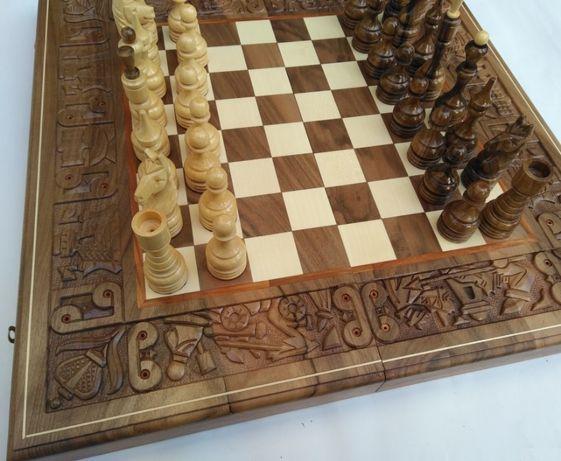 шахматы шашки нарды резные ручной работы подарочные деревянные 2