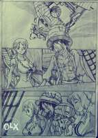 """Pencil drawing of One Piece Pirates """"Luffy and co"""