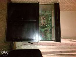 fish tank with stand and cupboard