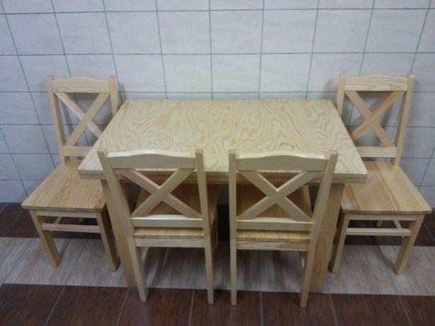 Stół Sosnowy Drewniany Prostokąt Krzesła Sosnowe Do Kuchni