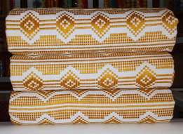 White and Gold latex type Kente from Bonwire. Quality.