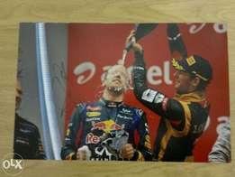 Various Hand Signed Photo's of Current and Former F1 Racing Drivers .