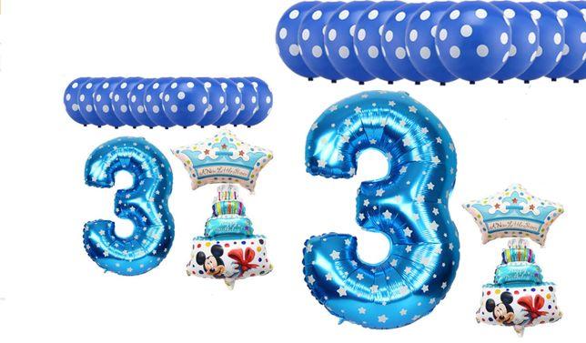 9a94b761d6759c Zestaw balonów na 3 urodziny - hel - balon - party - urodziny ...