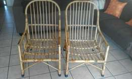 Cane chairs x4 and table