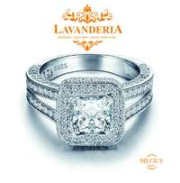 Luxurious Engagement Classic Square Cubic Zirconia Genuine Silver Ring