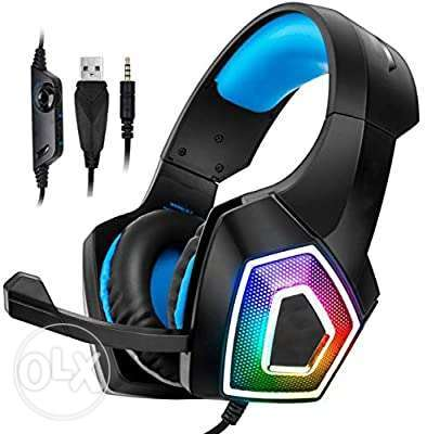 (1$=1500) Gaming Headsets, Noise-Cancelling Microphones, RGB Lights,