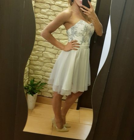 b8f81ac8 Sukienka princeska XS szara, tiulowa, koronka, krótka, obcisła ...