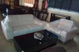 Quality white leather sofa chair