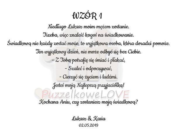 Zaproszenie Dla świadka Puzzelkowelove Budziszewice Olxpl
