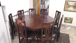 dinning room table, 8 seater with buffet made from imbuia wood