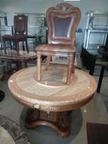Marble round dinning table with 6 solid chairs
