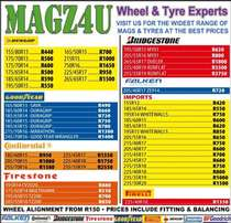 Magz4u wheel and tyre experts- VARIOUS TYRE SIZES AND BRANDS