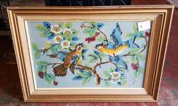 TAPESTRY: 2 Birds in a Tree - gold frame J 2402