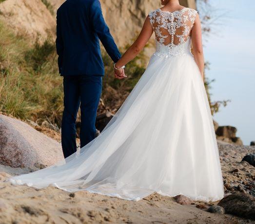 Suknia ślubna Z Podpinanym Trenem W Kolorze Ivory Rozm 3840