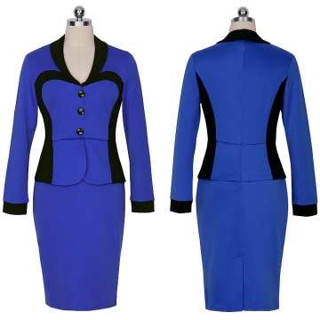Women Longsleeve Turn Down Collar Elegant Lapel Patchwork OL Dress Blu Nairobi CBD - image 1