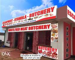 Need butchery stickers, banners or outdoor display sign?