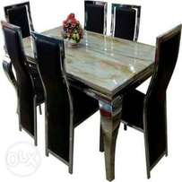 marble dining table cream color animal leg by6 black chair
