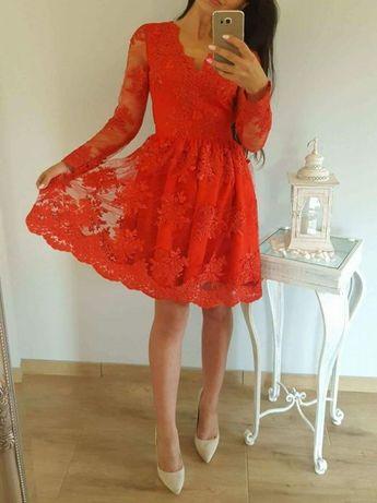 Sukienka czerwona 3436 36S rozkloszowana koronkowa Emo