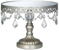 "Silver Beaded Mirror Round Cake Stand 12"" x 8"""