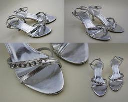 6df43b1c4f85a7 sprzedam używane srebrne sandałki buty wieczorowe r. 37 obcas 5 cm