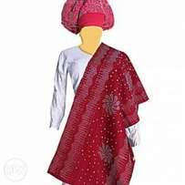 Ipele and gele( stoned Headtie and shoulder)